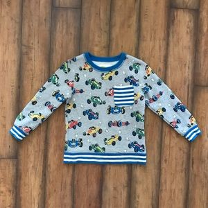 """Mini Boden Sweatshirt """"Speedy Sprouty"""" Race Car"""